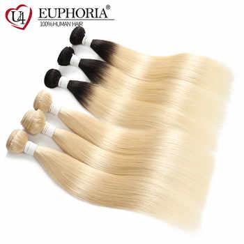 Peruvian Straight Hair Ombre Blonde 1B 613 Remy Human Hair Weave Bundles 1/3/4 Pcs Body Wave Human Hair Weaving EUPHORIA