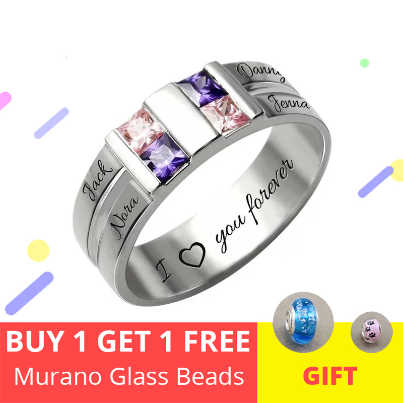 2018 nouvelle 100% 925 en argent Sterling nom anneau personnalisé personnalisé anniversaire pierre anneau donne famille Unique cadeau livraison gratuite