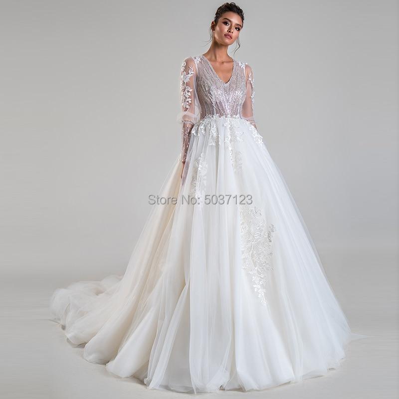Long Sleeves Wedding Dresses A Line Sequin V Neck Lace Appliques Bridal Gowns Vestido De Noiva Court Train Open Back