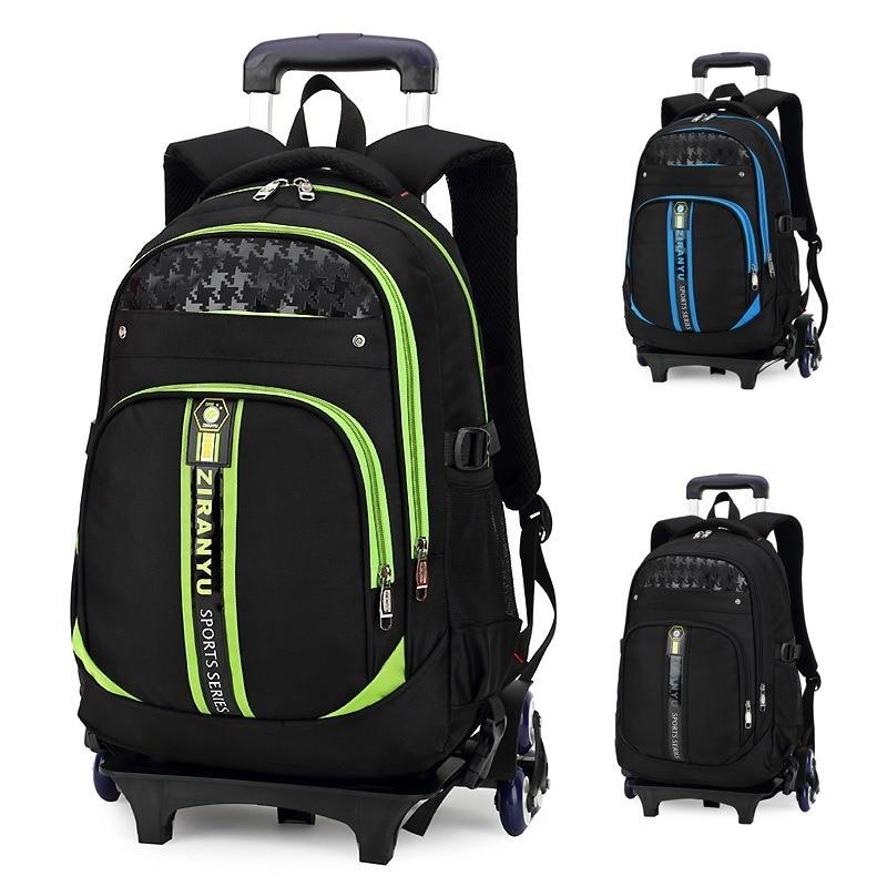 Sacs d'école pour enfants avec roues enfants garçons filles Trolley cartable roulant bagages livre sacs à dos à roulettes