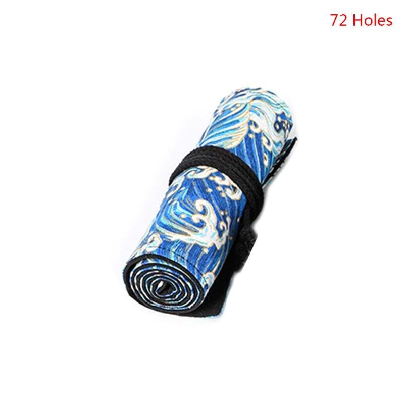 12/24/36/48/72 Holes Canvas Roll Up Pencil Bag Pen Curtain Case Makeup Wrap Holder Storage Pouch 1