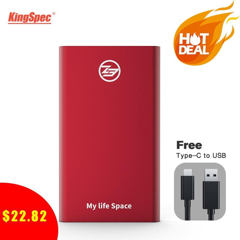 Vente en gros KingSpec 64GB 128GB 256GB 512GB externe SSD type-c USB 3.1 Portable SSD HD externe 1 to avec Interface USB3.1 Gen1