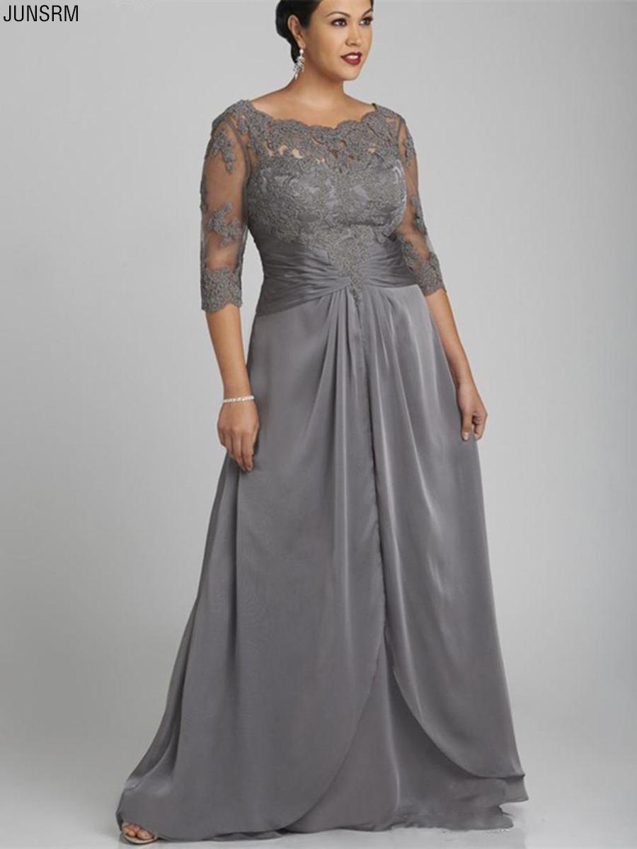 Popular Style Plus Size Gray Mother Of The Bride Dress Half Sleeve Scoop Neck Lace Chiffon Floor Length Formal Gowns Custom Made