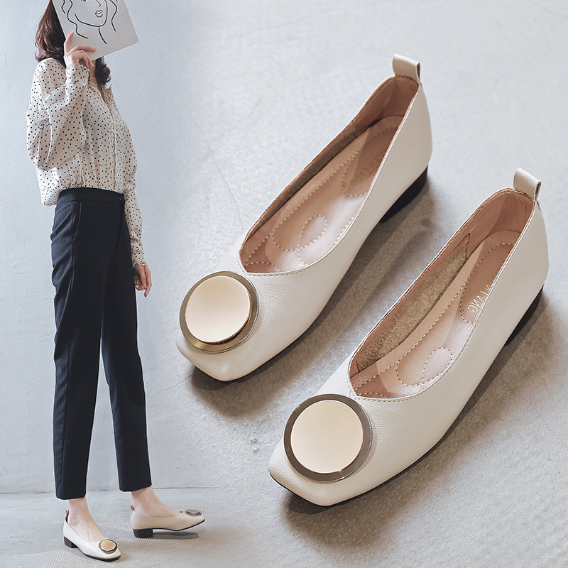 Soft Leather Metal Fashion Square Heel Ladies Pumps Sexy Square Toe Low Heel Shoes Basic Slip-On Women Office Dress Pumps