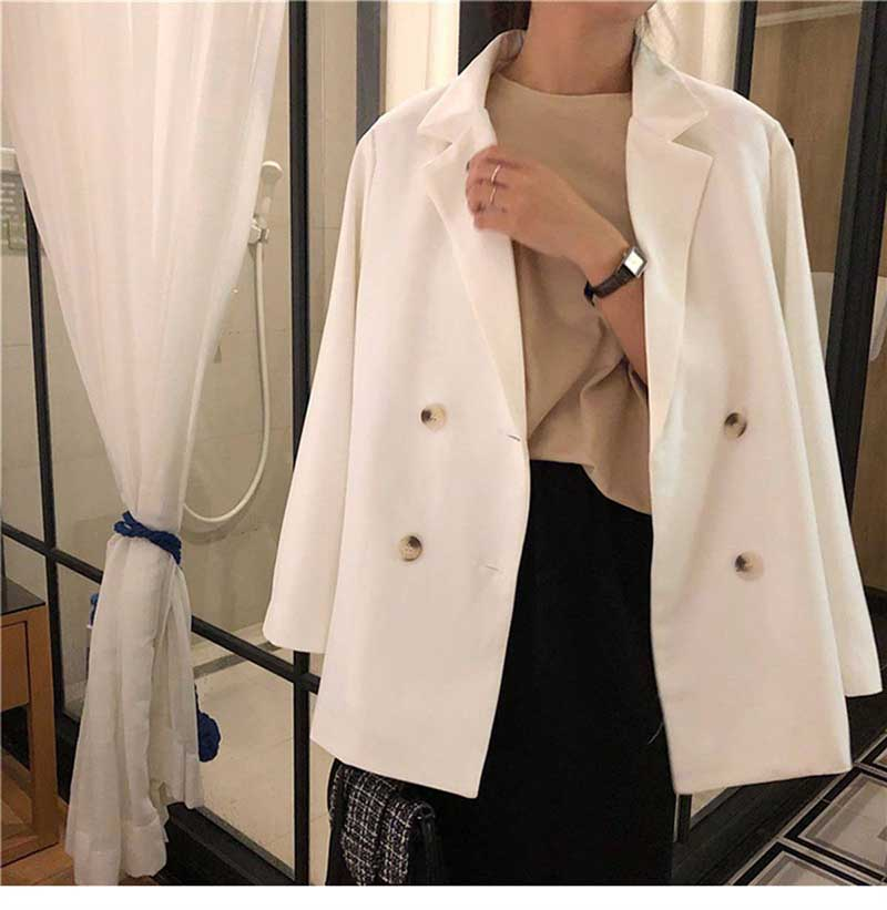 Women's Blazers Notched Collar Long Sleeve Office Lady Jackets Coat 2019 Spring Autumn Korean Loose Work Formal White Black Tops