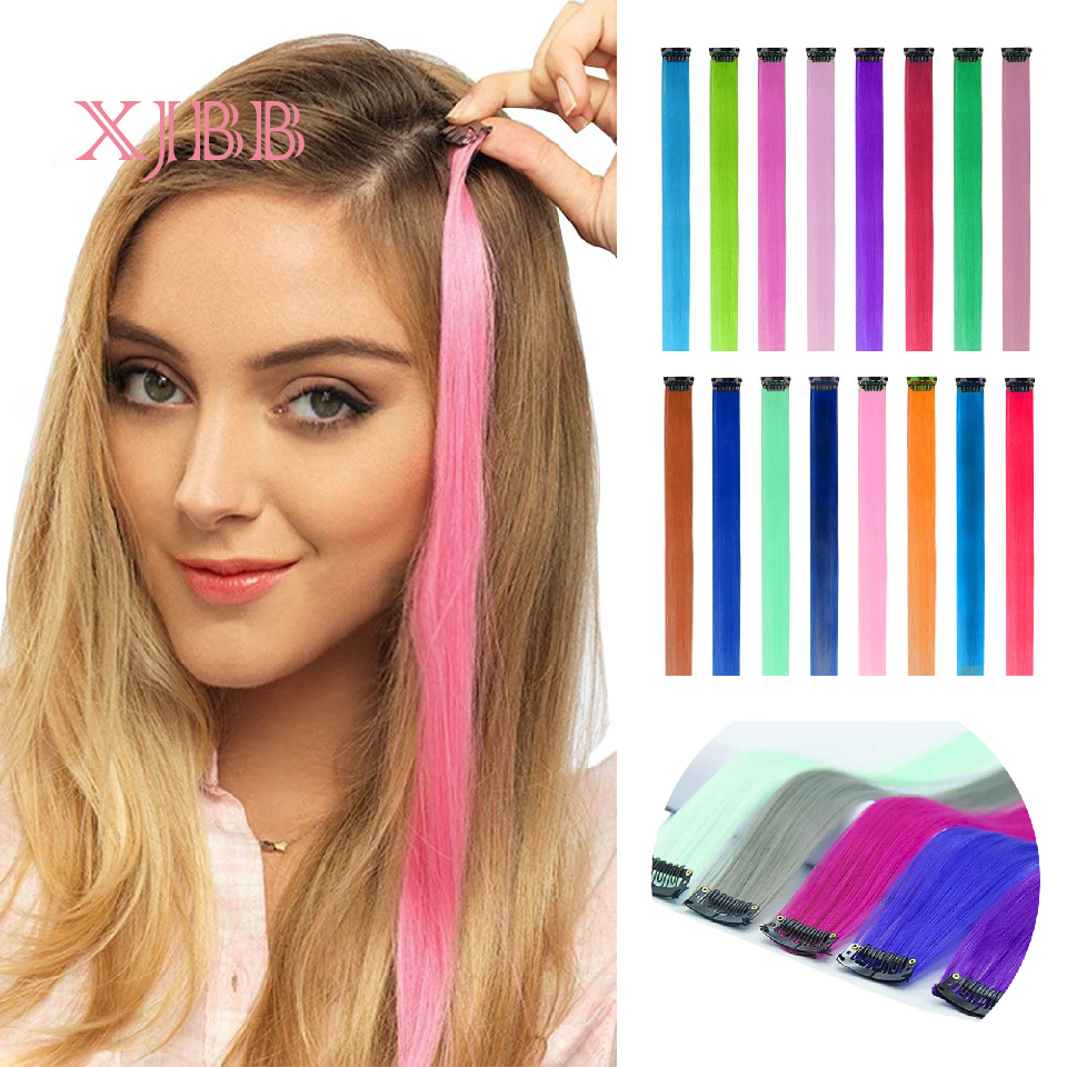Straight Fake Colored Hair Extensions Clip In Highlight Rainbow Hair Ombre Fake Purple Long Straight Hair Pieces 20