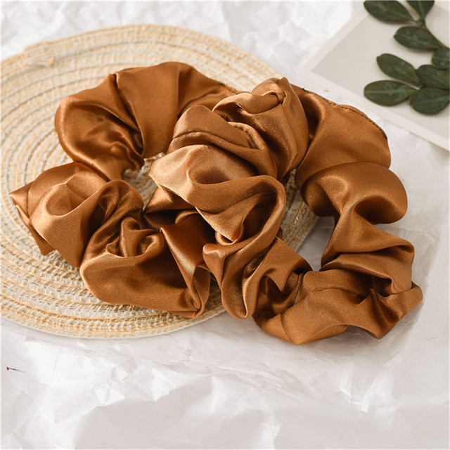 Fashion Solid Color Reflect Light Hair Scrunchies Ponytail Holder Soft Stretchy Hair Elastic Rope Accessories