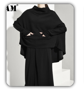 [EAM] 2020 New Spring Lapel Long Sleeve Solid Color Black Gray Split Joint Loose Big Size Jacket Women Fashion JC969 77