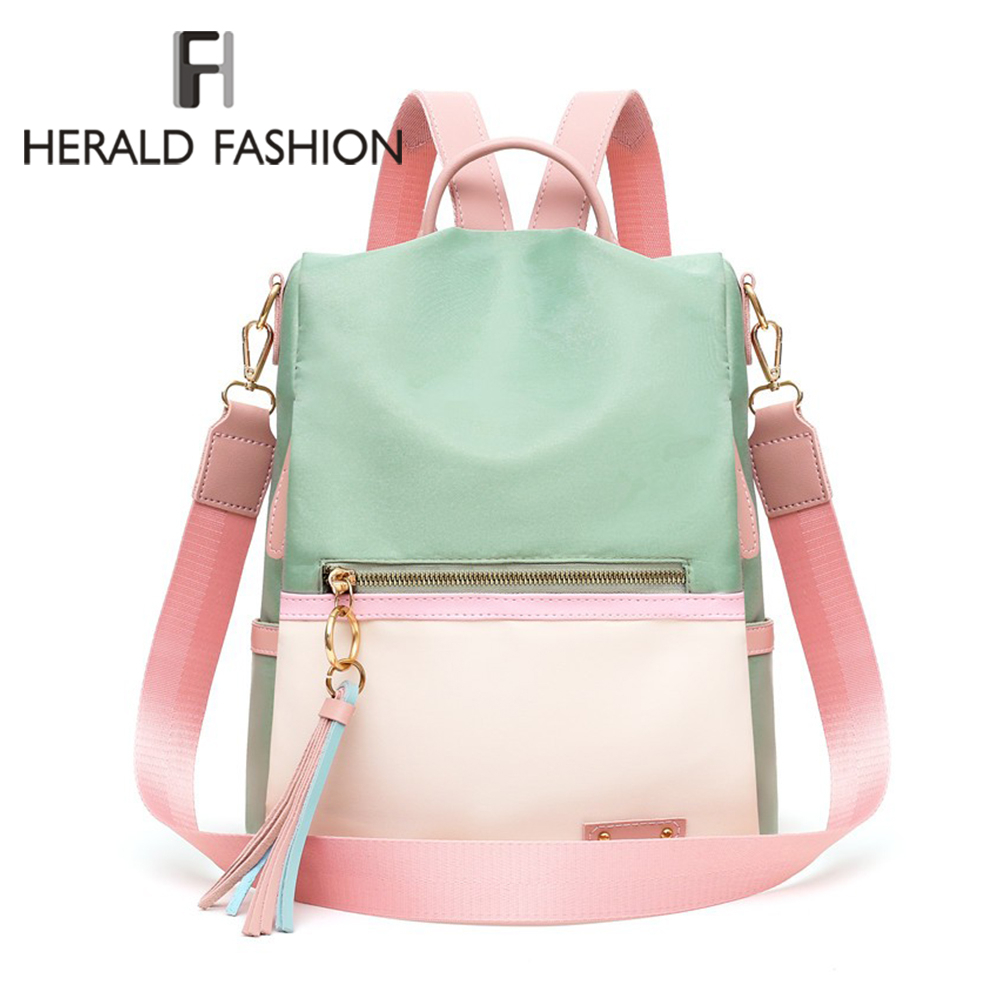Herald Fashion Women Anti-thief Backpack Large Capacity Panelled Color School Bag For Teenage Girls Male Laptop Travel Bags