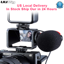 UURig كاميرا فيديو Selfie الوجه شاشة قوس الحذاء البارد Mic جبل محول لسوني A7RIV A7RIII A7RII A7III A7II A6300 A6500 فوجي