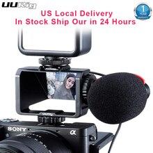 UURig kamera Vlog Selfie etui z klapką uchwyt ekranu zimna butów Mic Adapter do montażu dla Sony A7RIV A7RIII A7RII A7III A7II A6300 A6500 Fuji