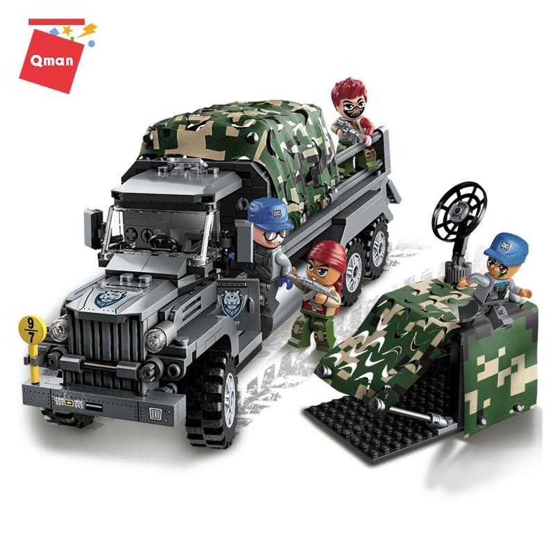 Qman transporte criativo soldado 4 figuras modelo de caminhão veículo militar 386 peças blocos de construção brinquedos