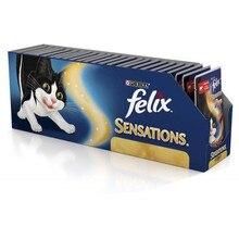 Влажный корм Felix Sensations в Удивительном Соусе для кошек c говядиной в соусе с томатами, Пауч, 85 г(24 шт
