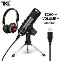 TKL-micrófono Podcast condensador USB, transmisión de PC profesional, micrófonos conjunto unidireccional para grabación de juegos, YouTube