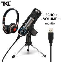 TKL ميكروفون مكثف USB احترافي ، مجموعة ميكروفونات أحادية الاتجاه لتسجيل الألعاب على YouTube