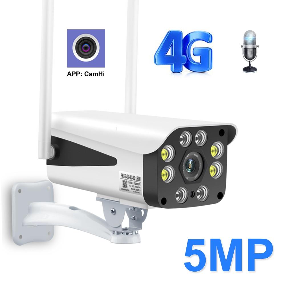 Zilnk 4g cartão sim câmera 1080 p 5mp hd 3g câmera bala de segurança ao ar livre em dois sentidos áudio sem fio vigilância cctv camhi