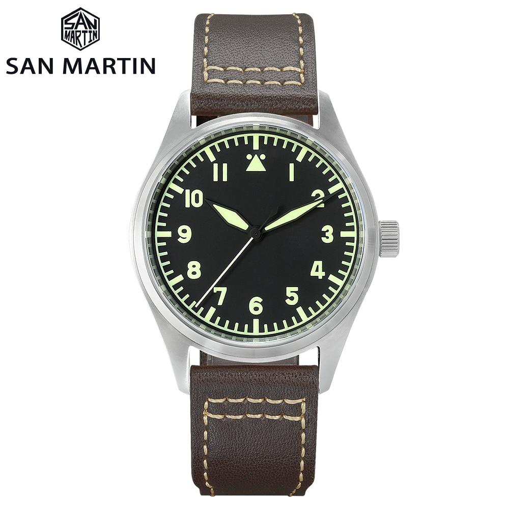 San Martin Watch Pilot Vintage Leather Strap Waterproof Luminous Machine / Quartz Men's Watch