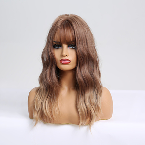 Image 3 - Easihairウェーブかつら前髪オンブル茶色ブロンド合成かつら女性ボディ波状ウィッグ耐熱ウィッグ