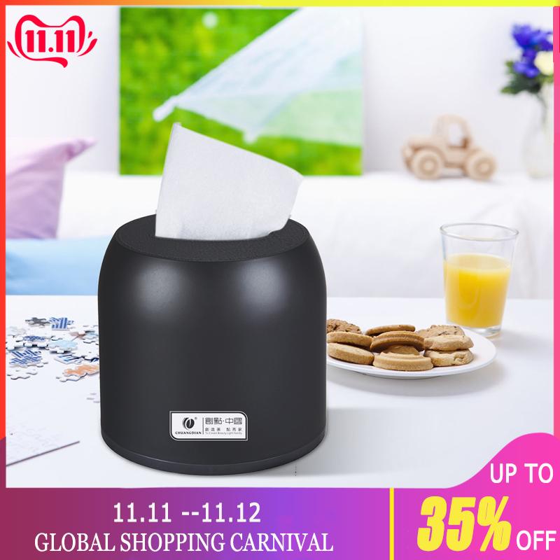 Tissue Box Holder Toilet Paper Dispenser Box Cover Napkin Holder Round Table Top Napkins Container