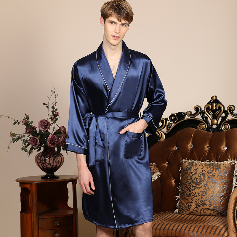 Large Size 3XL 4XL 5XL Robe Men Summer Single Nightgown Navy Blue Satin Bathrobe Kimono Gown Long Sleeve Home Dressing Gown