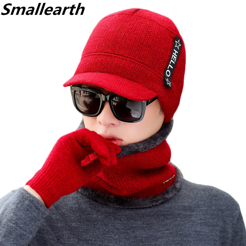 2019 Men's Winter Hat Scarf 3 Pieces Sets Men And Women Cotton Hats Knitted Cap Scarf Set Plus Velvet Thicken Outdoor Warm Suit