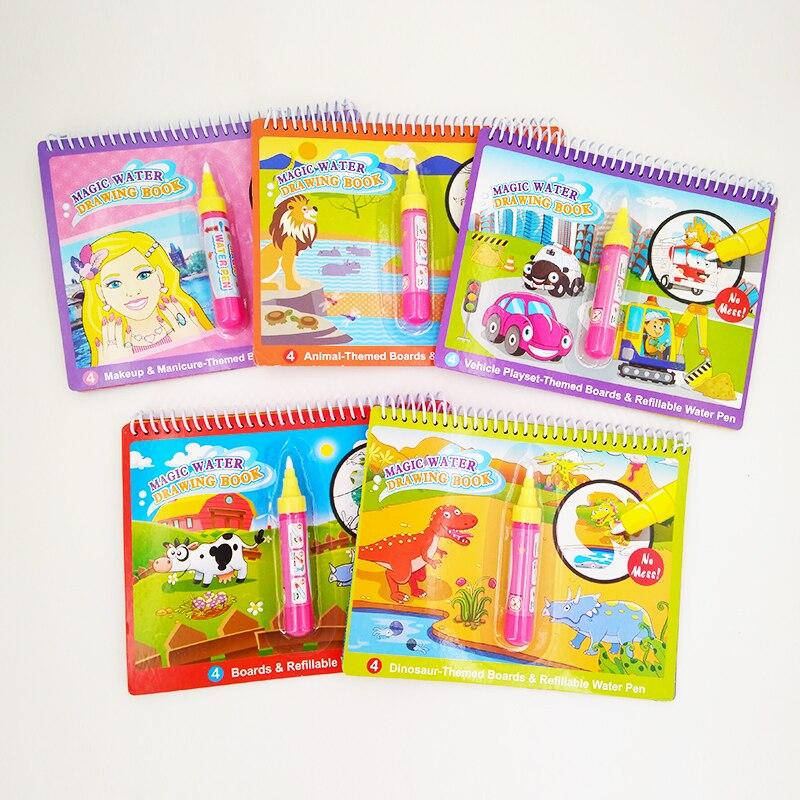 Волшебная водяная книга для рисования, книжка-раскраска для рисования и волшебная ручка, доска для рисования для детей, игрушки, водяная кни...