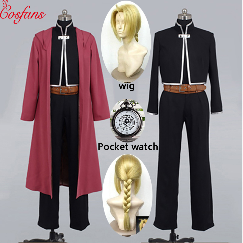 2019 Fullmetal AlcFullMetal Alchemist Edward Elric Cosplay Costume Custom Made Halloween Cosplay Costume And Wig Pocket Watch