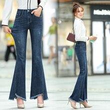 Zogaa 2019 pantalones vaqueros informales delgados elásticos de mezclilla de media cintura de gran tamaño pantalones largos de Flare Pantalones azul claro para las mujeres