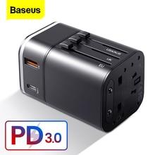 "Baseus מהיר תשלום 3.0 בינלאומי נסיעות USB מטען חשמל מתאם פ""ד QC3.0 מהיר טעינת קיר תקע שקע עבור בריטניה/האיחוד האירופי/AU/ארה""ב"