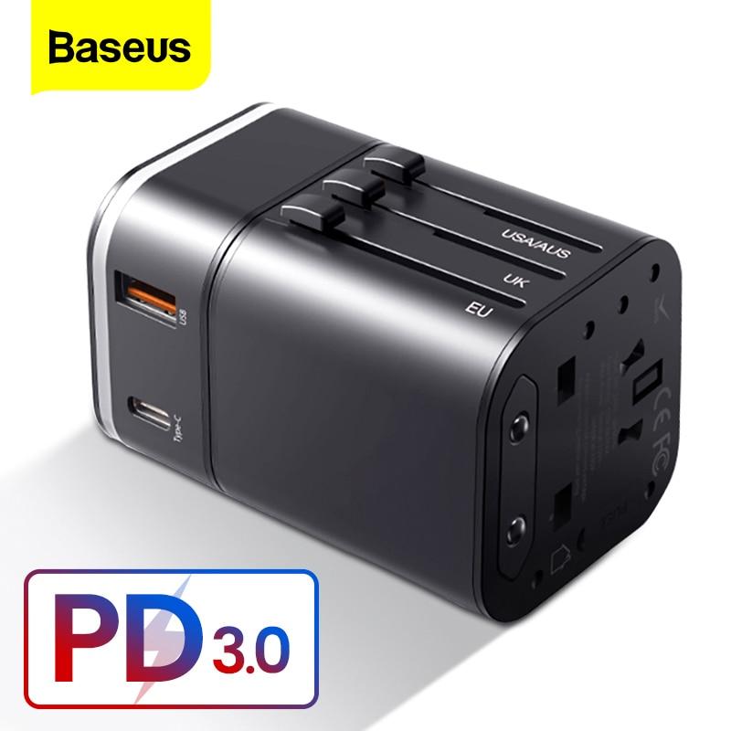 Baseus Quick Charge 3,0 международное Зарядное устройство USB адаптер питания PD QC3.0 Быстрая зарядка настенная розетка для Великобритании/ЕС/Австралии/СШАМеждународный адаптер для розетки   -