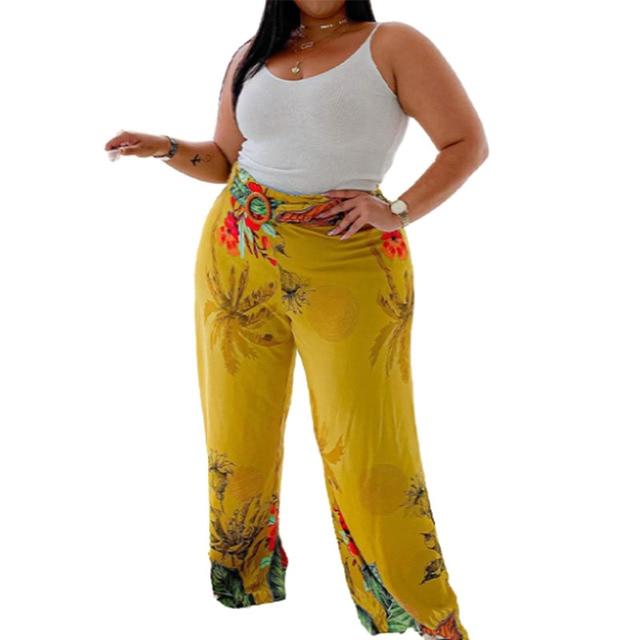 Flared Pants Mid-waist Elastic Long Yellow Plus Size Loose 2