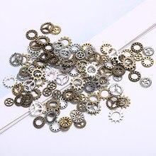 100 pçs antigo steampunk mini roda engrenagem encantos pingente diy jóias fazendo artesanato