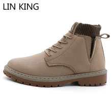 LIN KING New Suede Leather Men Boots Autumn Winter Ankle Boots Fashion Footwear Lace Up Shoes Men High Quality Vintage Man Boots(China)