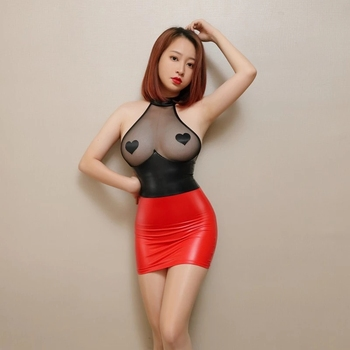 Sexy Backless Halter Mini Dress Mesh PU Leather Patchwork See Through Pencil Cute Tight Erotic Dress Hot Skinny Nightclub Wear 1