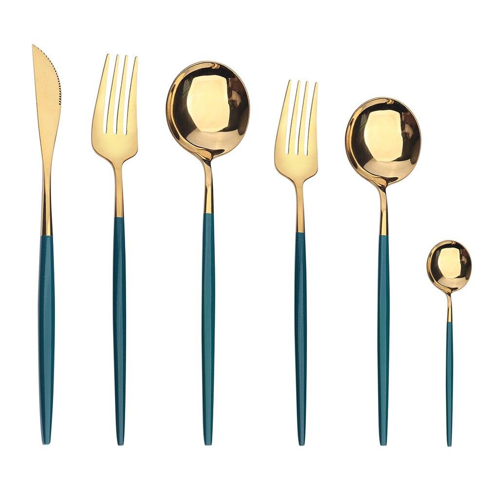 Набор столовых приборов из нержавеющей стали, комплект из 6 предметов, зеленое золото, десерт, вилка, нож, чайная ложка, столовое серебро