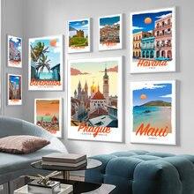 Ретро винтажный стиль туристические плакаты Италия Лондон Рим