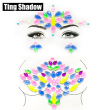 3D Neon Fluorecent LuminousCrystal Tattoo Sticker Fashion Body Gems Festival Gypsy Face gems face crystal Party Makeup
