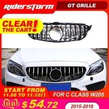 11,11 Gt решетка для W205 Передняя GTR решетка для Mercedes Benz W205 c180 c200 c250 c300 c43 2015 + решетка 2019 Передняя решетка для гонок