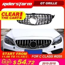 11.11 Gt grille pour W205 avant GTR Grill pour Mercedes Benz W205 c180 c200 c250 c300 c43 2015 + Grille 2019 avant grille de course