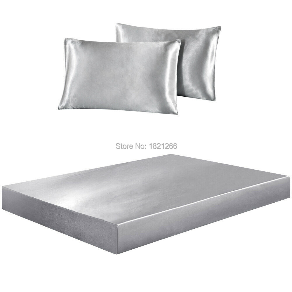 Super Soft Satin Silk Fitted Sheet Pillowcase Mattress Cover Bed Sheet Set Deep Pocket Fully Elastic Band Twin Full Queen King
