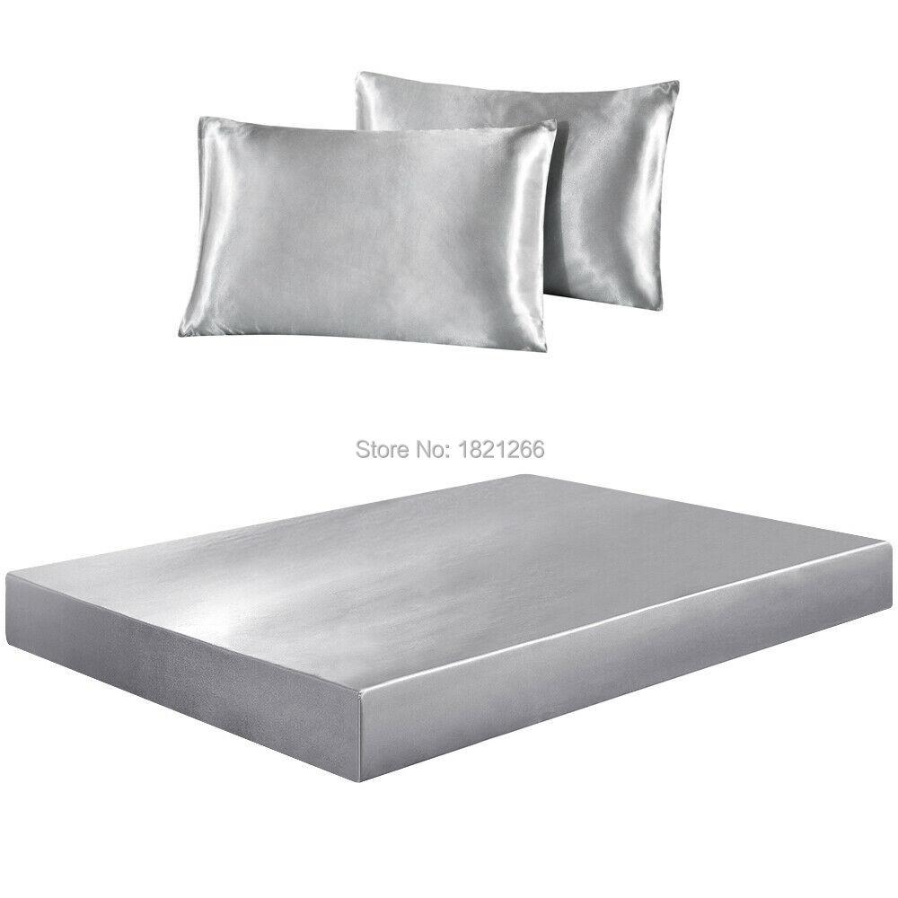 Супермягкая атласная шелковая наволочка, наволочка, наматрасник, постельное белье с глубоким карманом, полностью эластичная лента, двойной...