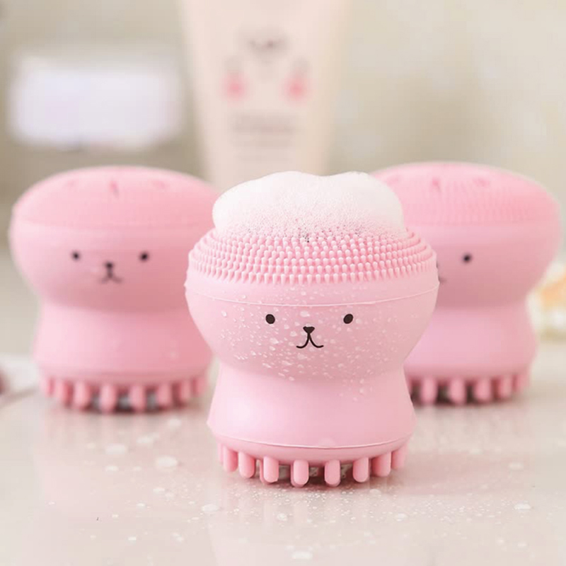Face Cleansing Brush Pore Cleaner Face Scrub Washing Brush Exfoliator Skin Care Facial Cleanser Massager Mini Octopus Shape