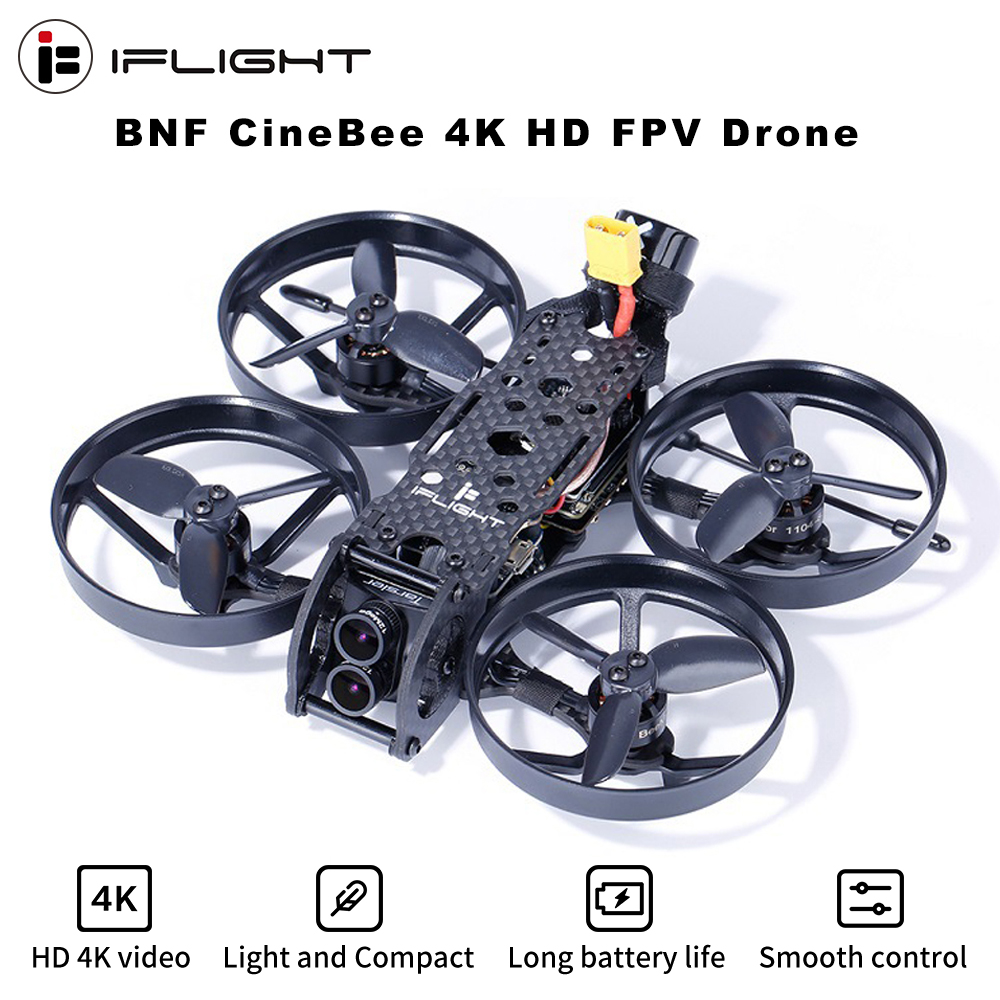 iFlight CineBee 4K Whoop – BNF 107mm F4 OSD 2-3S  FPV Racing Drone PNP w/ C Tarsier Dual Lens Camera