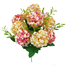 10 Heads Artificial Hydrangea Bride Bouquet Wedding Home Decoration for Flower Arrangement Vase Artifical Grass