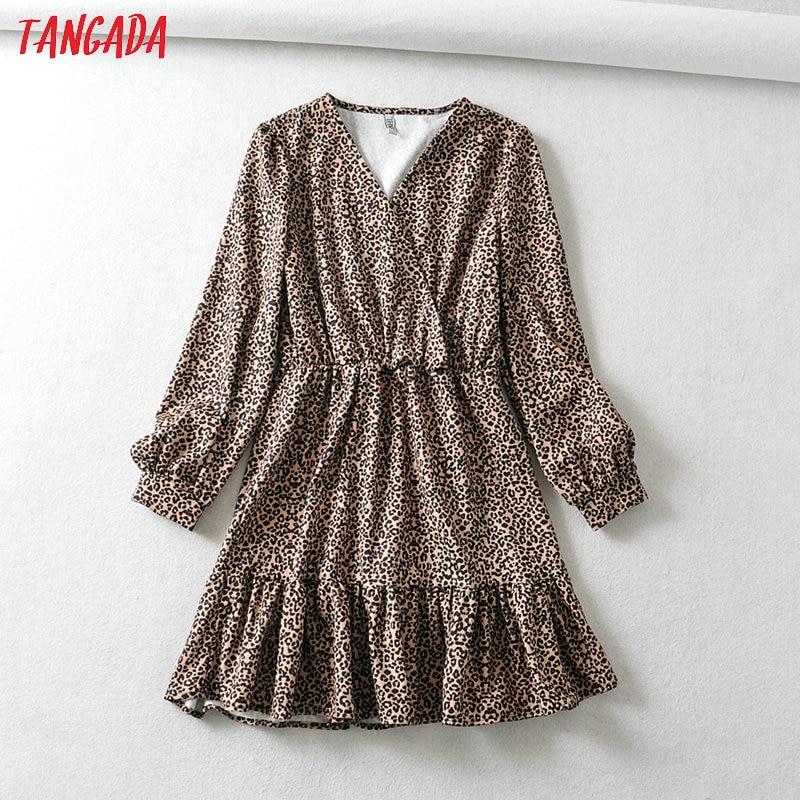 Tangada Women Leopard Animal Print A-line Dress V Neck Long Sleeve Vintage Style Females Mini Dresses Vestidos 6A127