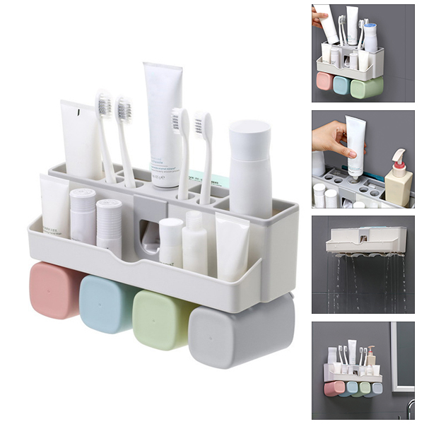 Large Capacity Toothbrush Holder Wall Mount Storage Rack with Automatic Toothpaste Dispenser DNJ998 image