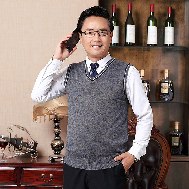 Wool Vest Men Fall And Winter Clothes New Style Business Casual Sleeveless Waistcoat V-neck Sweater Middle-aged MEN'S Waistcoat