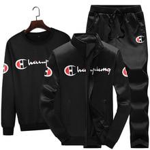 3PCS Spring Autumn Men Casual Sport Suit Printed Zip Up Jacket Coat+sweatshirt+pant Jogger Running Workout Outfit Set Sportswear