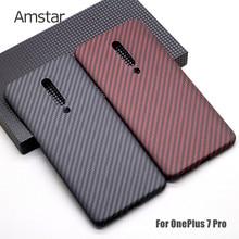 Amstar prawdziwy futerał na telefon z włókna węglowego ultra-cienki ultralekki sztywne etui z włókna węglowego do OnePlus 8 Pro 7 7T Pro Pure Carbon Cases