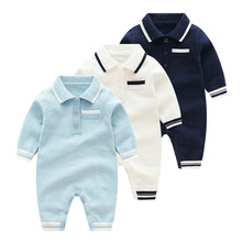 2019 Baby Boys Clothes Newborn Long Sleeve Rompers Spring Lapel Toddler One Piece Jumpsuits Cotton Knitting Children Outfits(China)